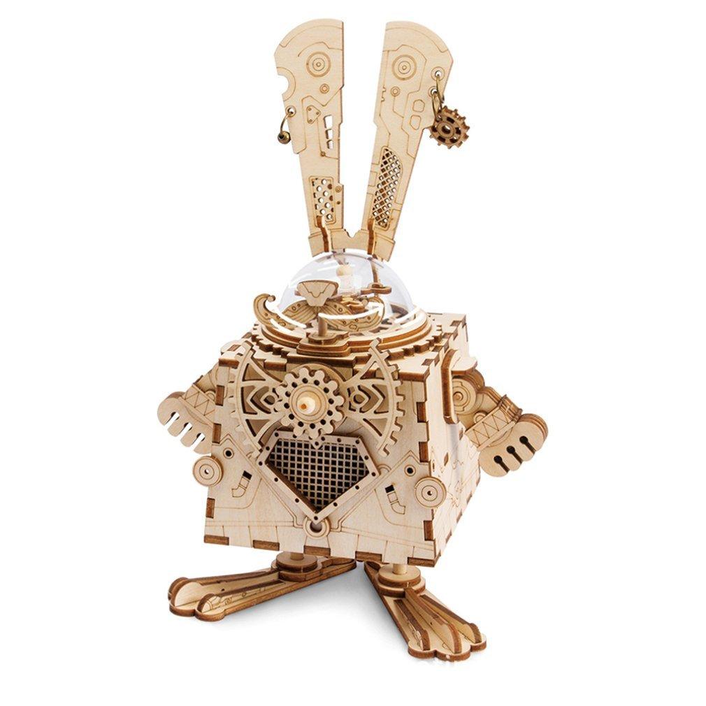 Diy креативные подарки 3D деревянная музыкальная шкатулка механическая музыкальная шкатулка робот украшение дома панк кролик ремесла