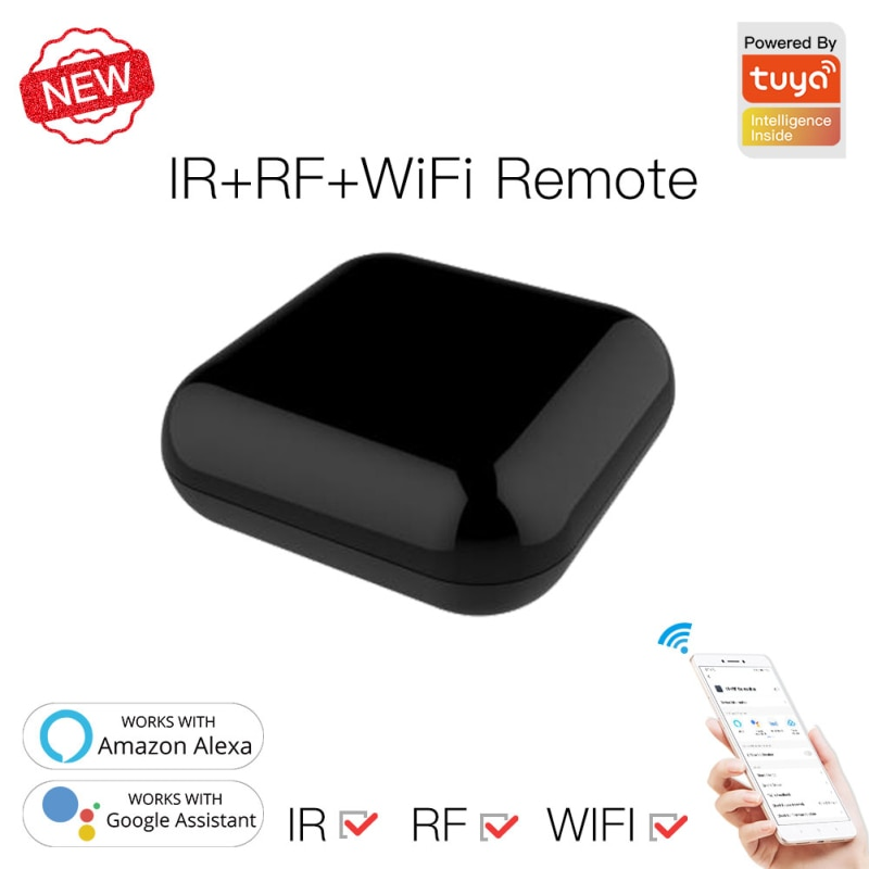 New WiFi RF+IR Universal Remote Controller RF Appliances Tuya/Smart Life App Voice Remote Control Work With Alexa Google Home