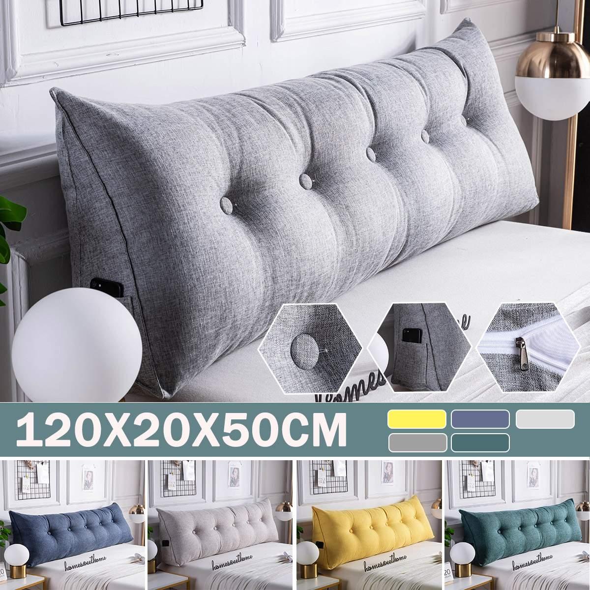 وسادة سرير مستطيلة مثلثة طويلة ، مسند ظهر ناعم ، وسادة دعم أسفل الظهر ، للمنزل ، 120 × 20 × 50 سنتيمتر