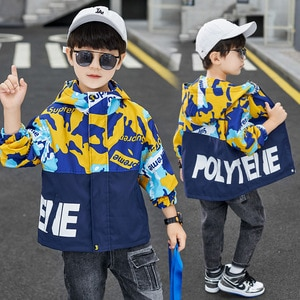 Fashion Teenage Camouflage Jackets Spring Autumn Children Hooded Coats Letter Print Long Sleeve Tops for Toddler Baby 8 12 14Yrs