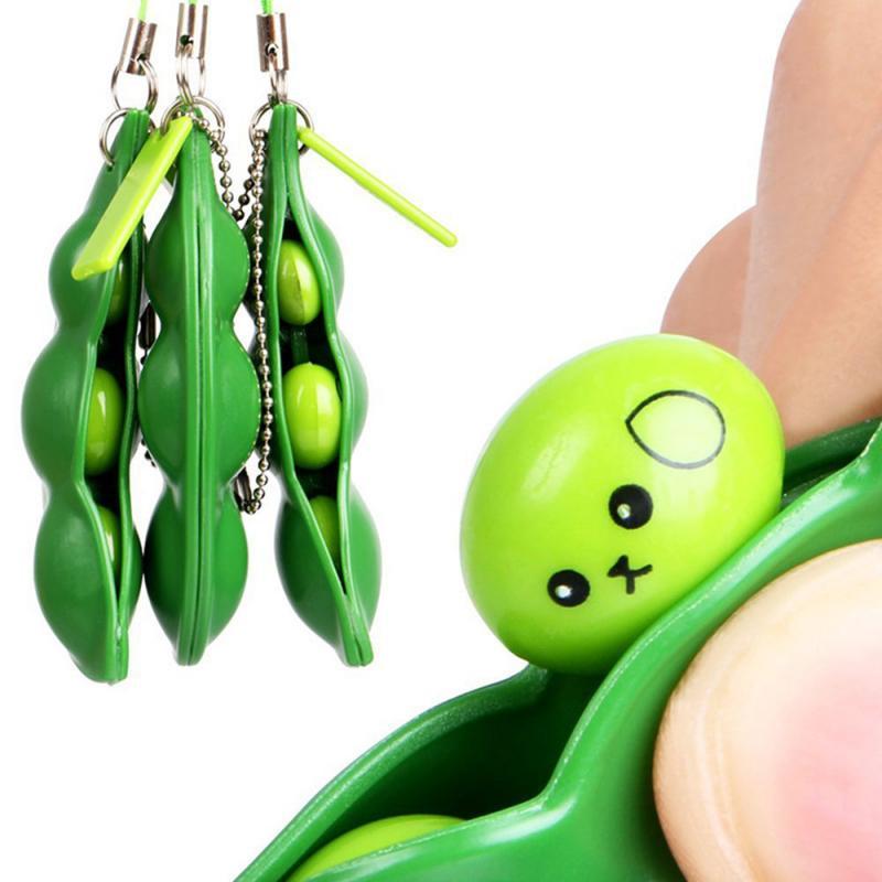 Extrusion Pea Bean Soybean Edamame Stress Creative Stress Relief Toy Cute Fun Key Chain Ring Reduce Pressure Toys