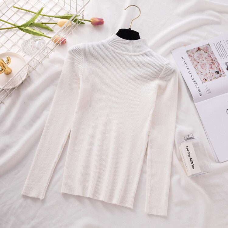 Suéteres de cuello alto de mujer moda Primavera manga larga Jersey femenino otoño coreano rojo básico