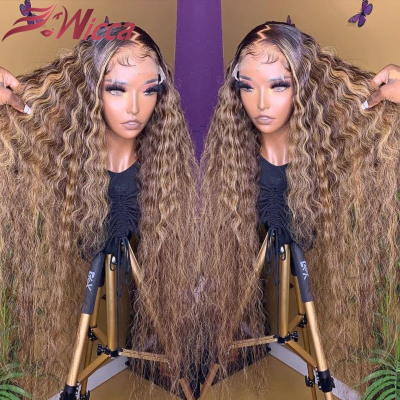 Highlight 13x4 Lace Front Human Hair Wigs With Baby Hair 26 Inches Brazilian Remy Brown Hair Bleached Knots Curly Wig For Women