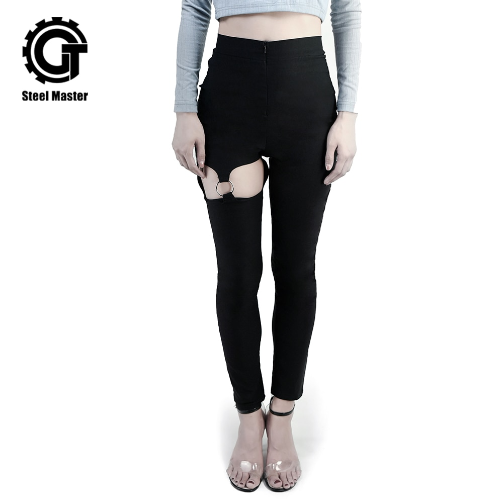 Thin Trousers Female Tide Dark Black Girl Super Handsome Three-dimensional Broken Ring Sexy Casual Pants Female