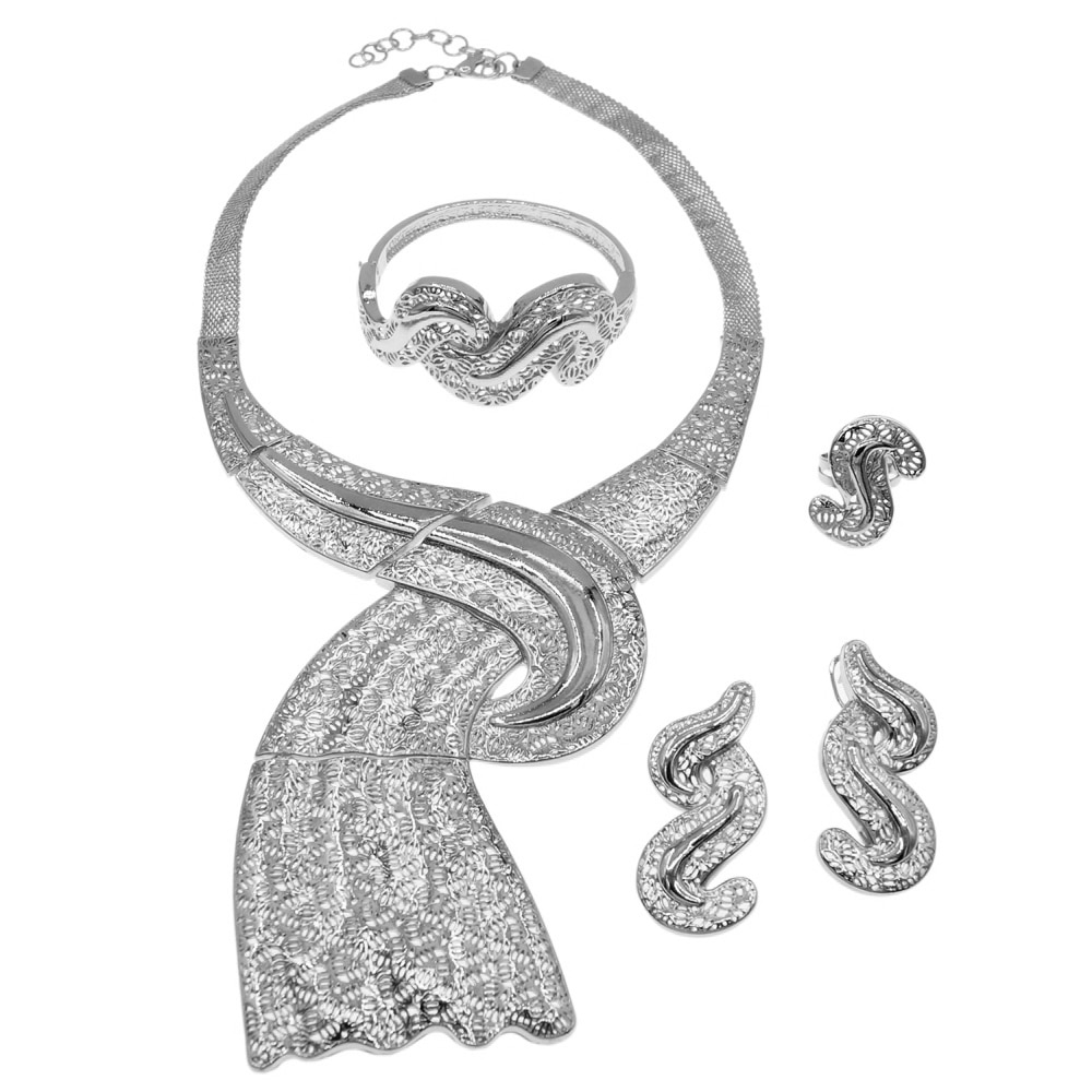 أحدث صيحات الموضة البرازيل مجوهرات مطلية بالذهب مجموعة عالية الجودة امرأة مجموعة مجوهرات الزفاف مأدبة H0030