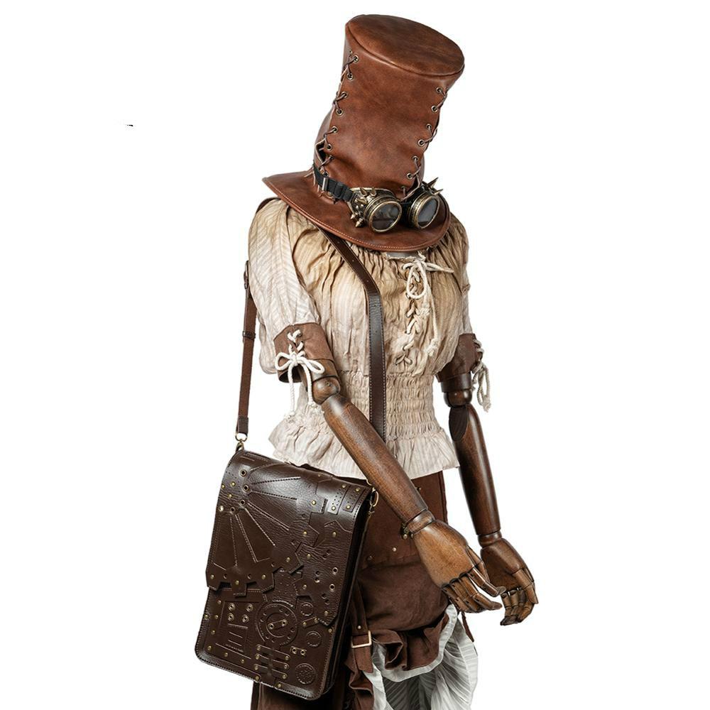 مصمم المرأة Steampunk ظهره حقيبة ظهر مصنوعة من الجلد للنساء القوطية حقائب كتف دراجة نارية الخصر دائم الاتجاه حزمة To6