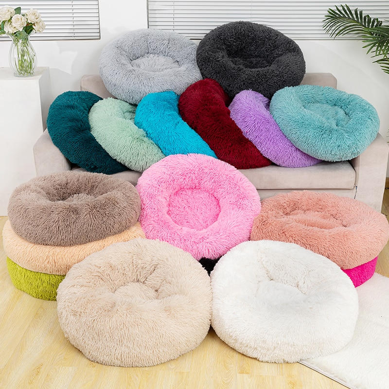 Pure color round plush dog bed cat litter soft and fluffy winter thick warm pad pet bedding supplies medium and large dogs