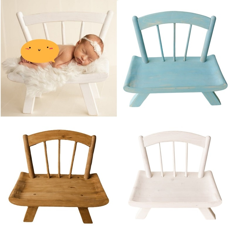 Newborn Photography Props Wooden Chair Bed Baby Photography Furniture for Infant Photo