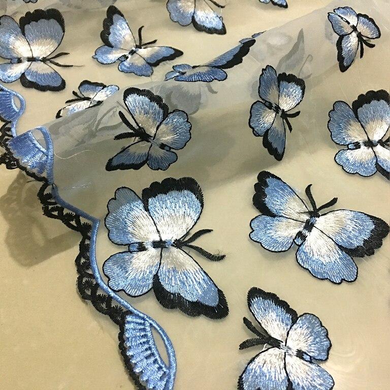 1 metro mariposa bordado encaje tul tela transparente encaje francés diy vestido de fiesta nigeriano falda paño decorativo