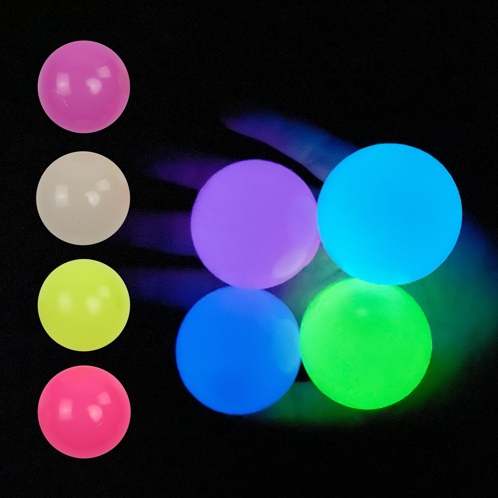 4 Pcs Luminous Wall Target Ball Sucker Sticky Decompression Toys for Kid Teen  Colorful TPR Toy Balls Color Random 4 Size