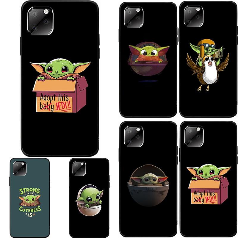 Baby Yoda Case for Iphone 11 Pro Max 11Pro  XS XR 7 8Plus 8 XSMax Black Back Case Cute Cartoon Non Slip TPU Soft Cover