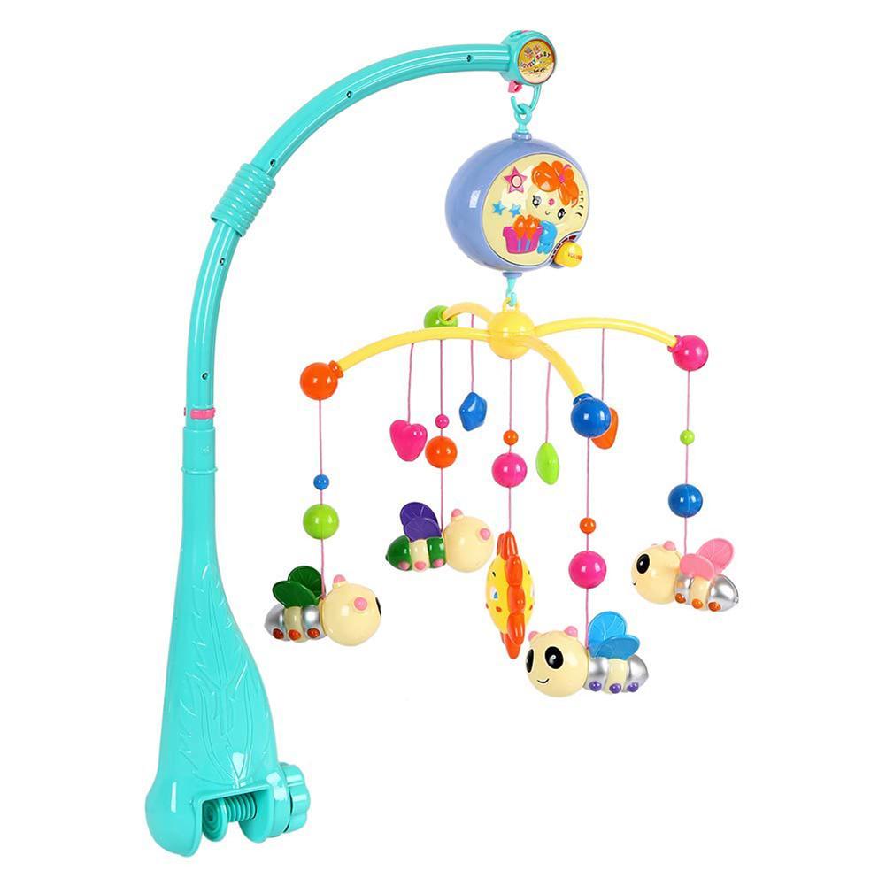 Детская музыкальная кроватка для кроватки Мобильная пчела Животные Подвески Nusery Колыбельная игрушка вращающаяся на 360 градусов Крестовая стойка детское кольцо/кровать колокольчик