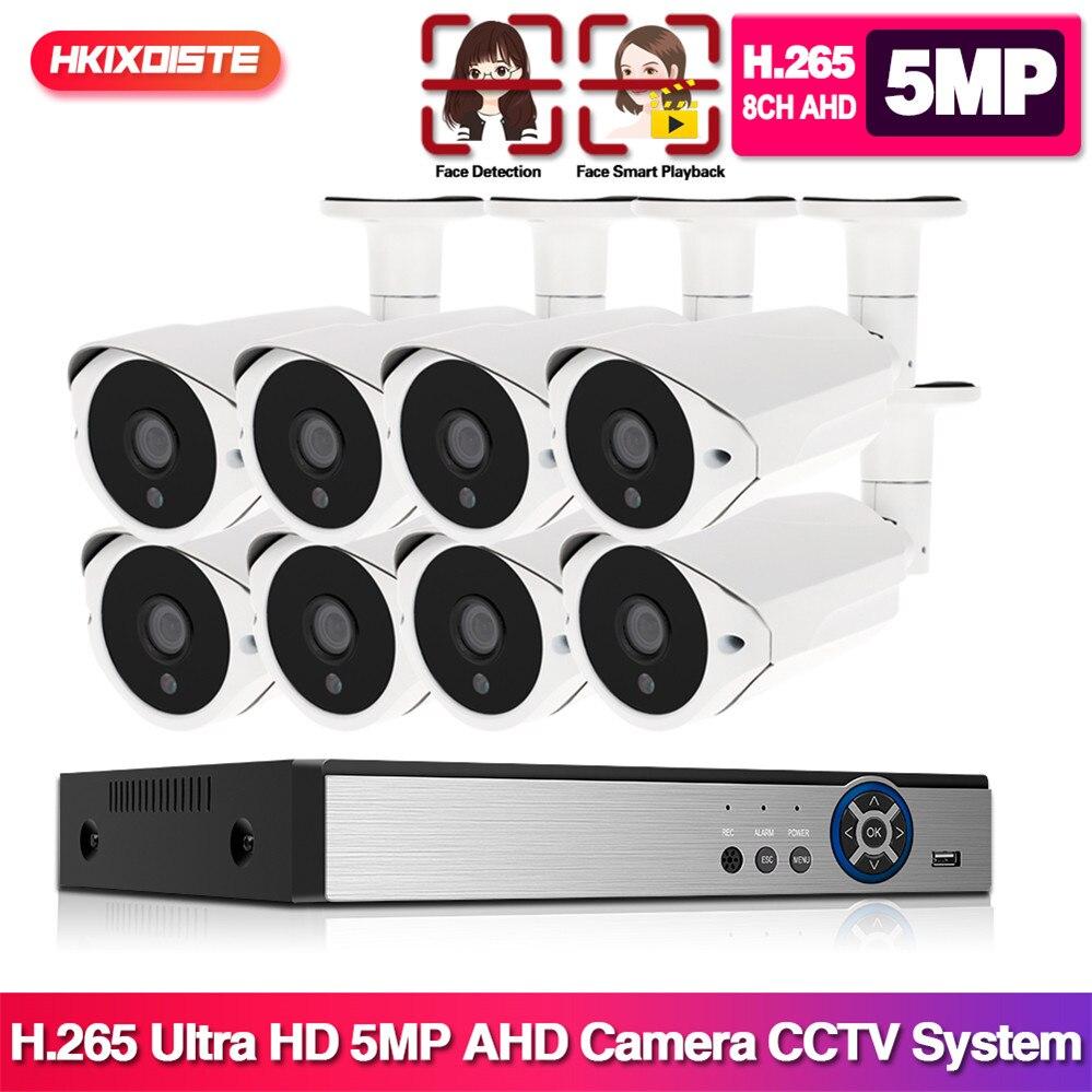 Reconocimiento facial 5MP sistema de cámaras de seguridad 8CH AHD DVR Kit 4/8 Uds 5MP HD al aire libre CCTV Cámara P2P Sistema de videovigilancia