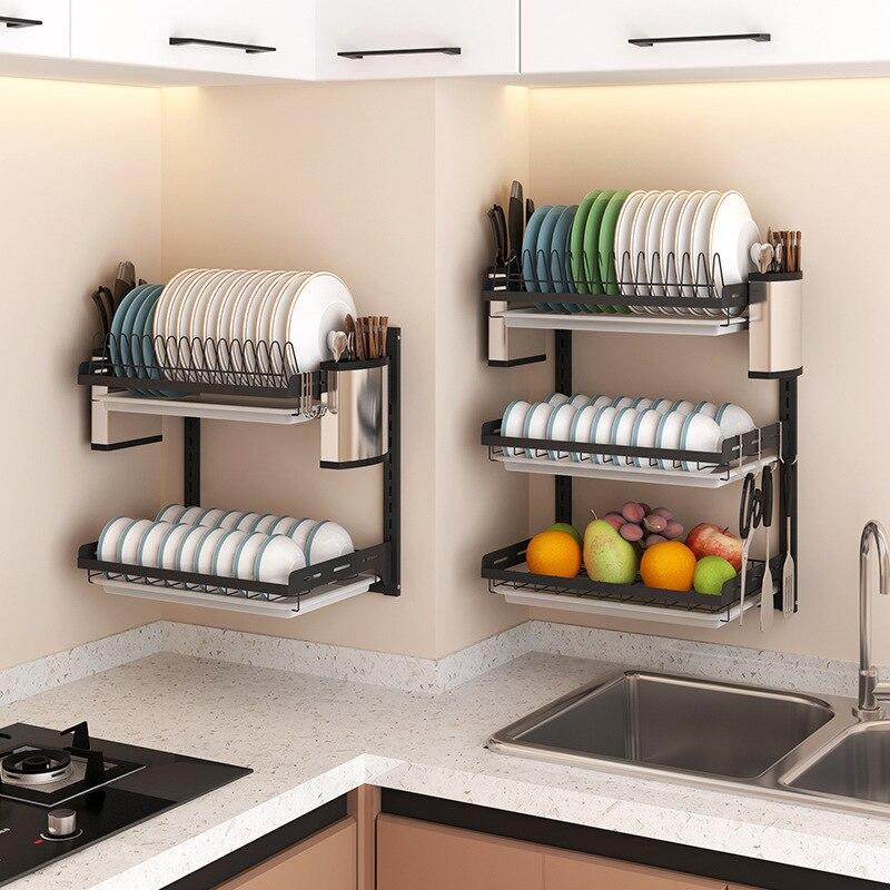 رفوف المطبخ المنزلية المثبتة على الحائط حاملات التخزين رف تجفيف رفوف المطبخ منظم رف الأطباق Cocina اكسسوارات المطبخ BI50KR