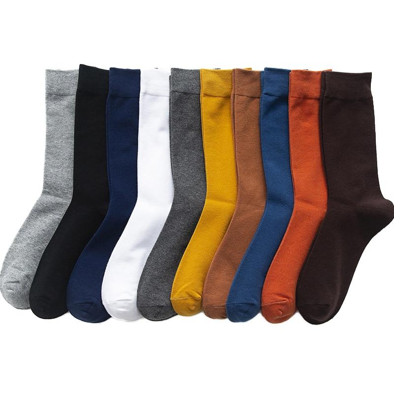 2021 جديد الرجال اللون القطن الجوارب زائد حجم 39-46 الخريف طويلة الجوارب للرجال اللباس الذكور هدايا الأعمال عارضة مزيل العرق سوكس Hot
