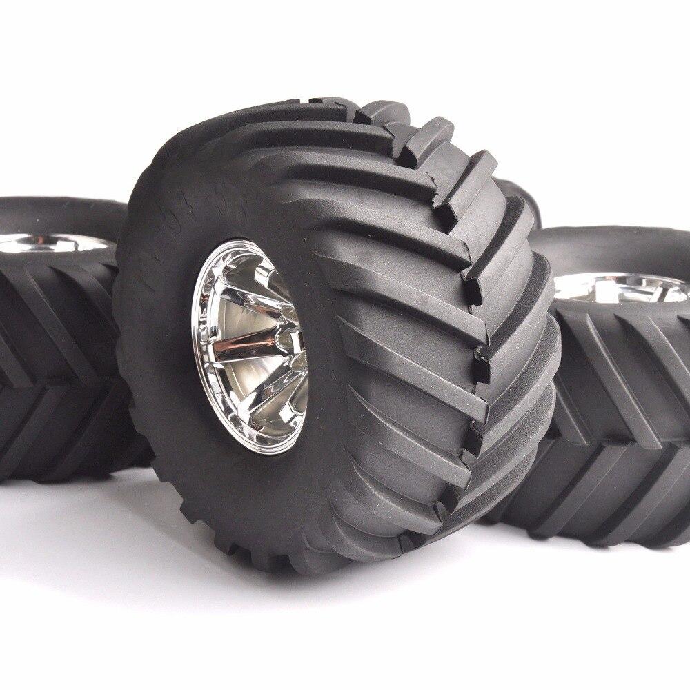 4 pcs set 1 10 escala grande pe escalada pneus ruber rodas 135mm jantes conjunto