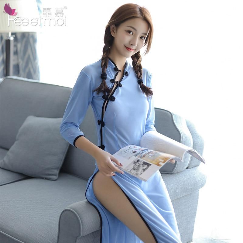 High-end perspectiva longa chinês cheongsam mulher lingerie erótica vestido lado split botão chinês retro estudante uniforme cosplay