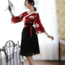 Novelty Women Sexy Lingerie Japanese Style Kimono Yukata Tops+skirt Vintage Long Sleeve Female Geisha Girls Pajamas Homewear