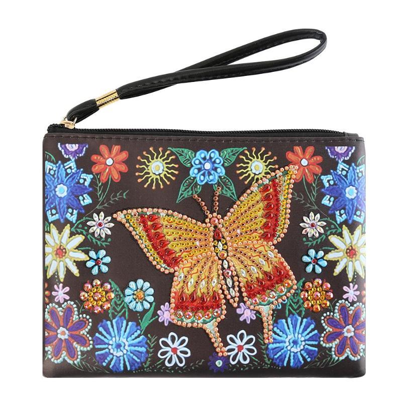 DIY Butterfly Special Shaped Diamond Painting Wristlet Clutch Women Wallet