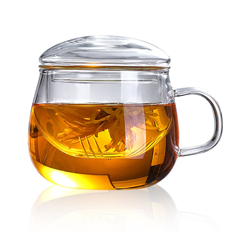 High Quality Durable 3 in 1 Set 350ml Clear Heat Resistant Tea Coffee Cup with Tea Infuser Filter Li