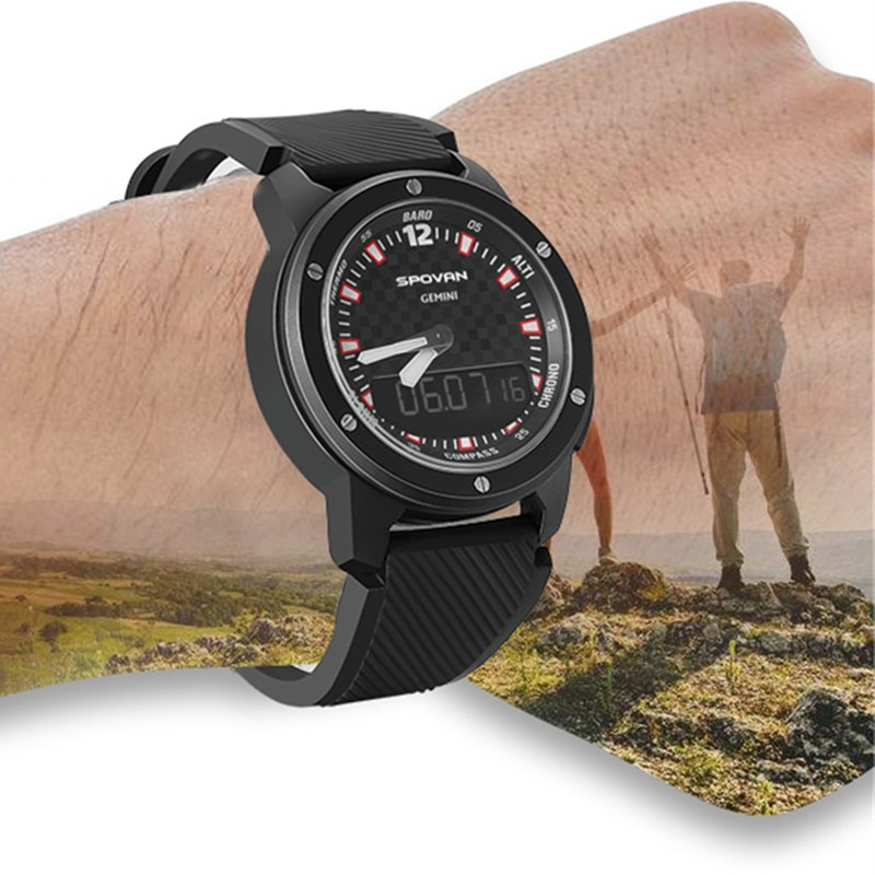 SPOVAN Fashion Watch Man Waterproof Digital Barometer Altimeter Thermometer Compass Stopwatch Sport Wristwatch Relogio Masculino enlarge