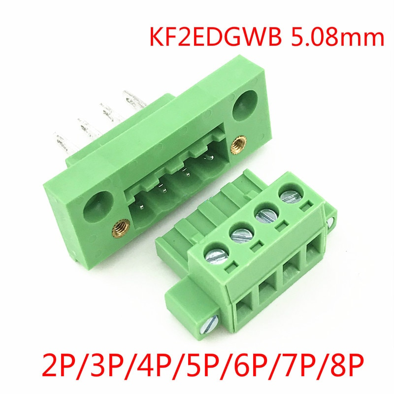 5 conjuntos kf2edgwb 5.08 2/3/4/5/6/7/8pin tipo terminal de tomada de parede 5.08mm passo conector pcb parafuso bloco terminal