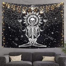 Tapisserie imprimée de crâne   Décorations dhalloween à la mode, décoration pour maison, salon, chambre à coucher, bâche murale Accroche-Torchon Mural #