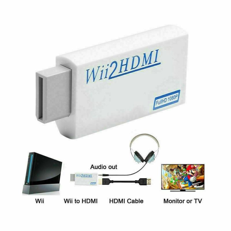 Full HD 1080P Wii compatibles con convertidor de adaptador con 3,5mm de salida de Audio para PC Monitor HDTV pantalla