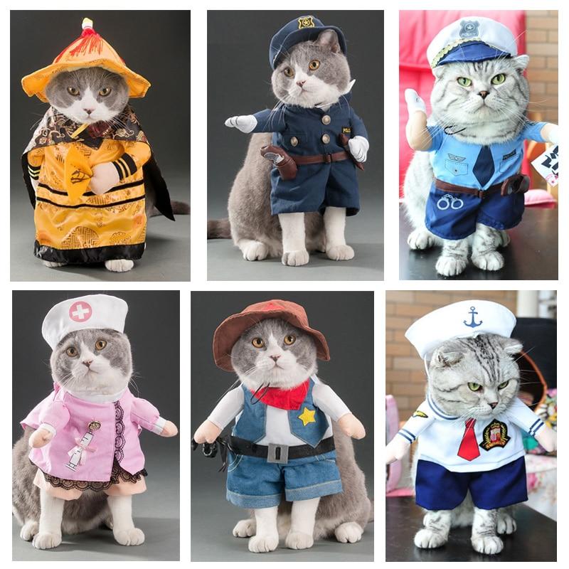 10 Styles Cosplay animaux chats Costumes Police marin médecin infirmière Design créatif costume de déguisement drôle chat chien vêtements roupa gato
