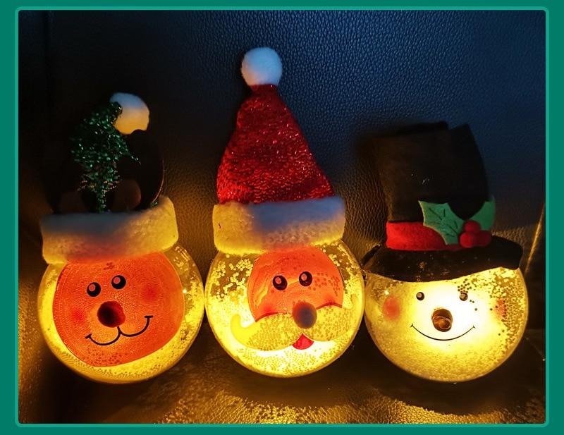 ZK30 Children's Christmas Ornaments Luminous Santa Claus luminous Pendant Christmas Tree Elk Snowman Decoration Lights недорого