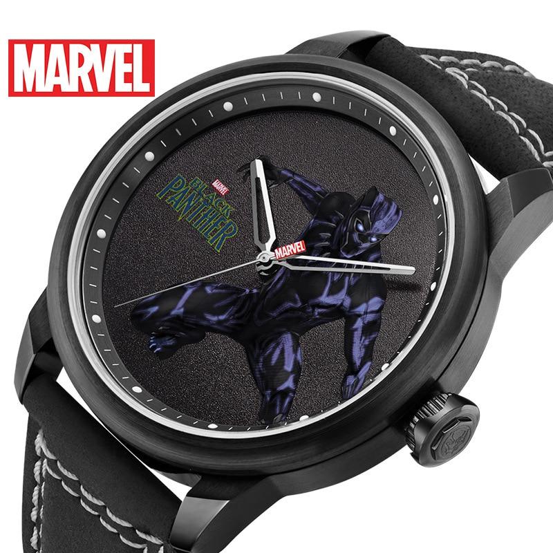 Disney Men's Belt Waterproof Men's Quartz Watch Fashion Casual Marvel Watch Business Steel Timepiece Black Panther Men's Watch