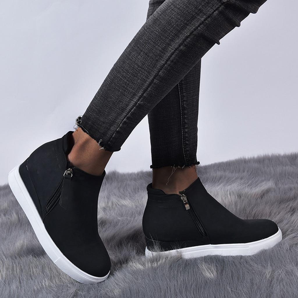 Cuñas de plataforma botines de mujer con cremallera de talla grande plataforma estudiantes Casual cuñas zapatillas de mujer zapatos de moda de 2020