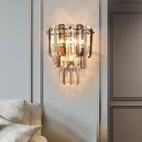 Nordique Mur Lampes Pour chambres A Coucher Or Cristal Salon salle De Bain Eclairage A La Maison Creatif LED Couloir Escalier Lumiere
