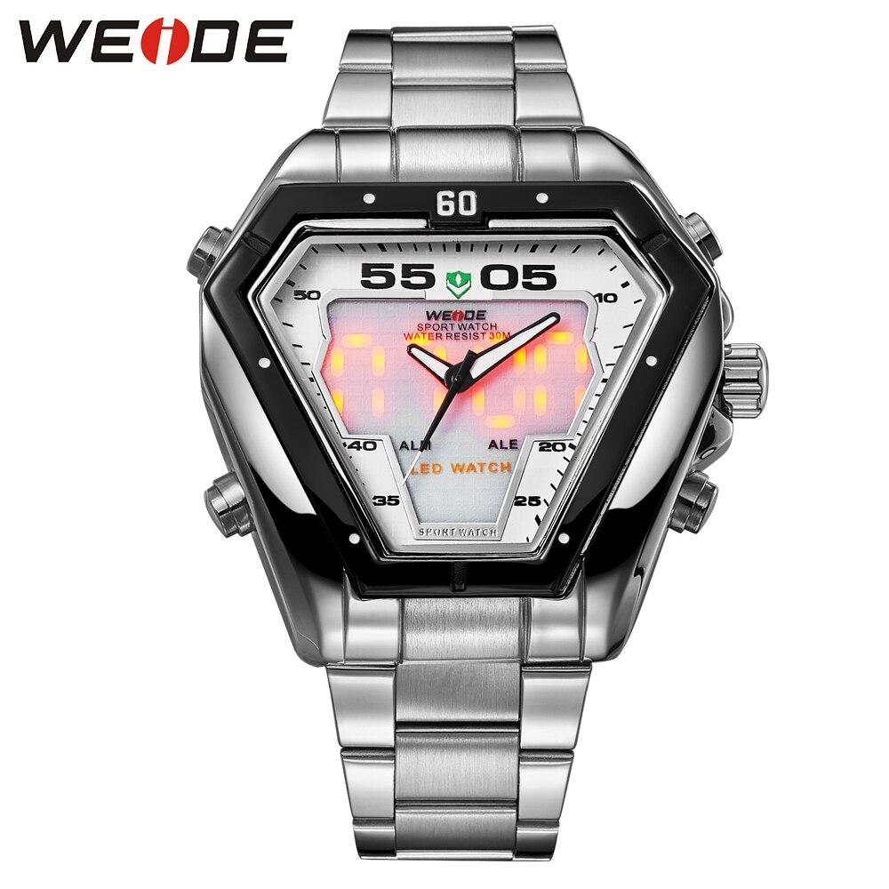 Weide relógio analógico digital de quartzo masculino, relógio de aço inoxidável à prova dágua com calendário militar para homens