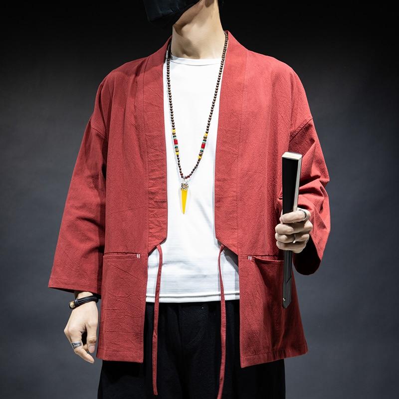 Chaqueta de punto MRDONOO para hombre, de primavera y verano, chaqueta holgada informal de algodón y lino, Color sólido, Kimono japonés de talla grande