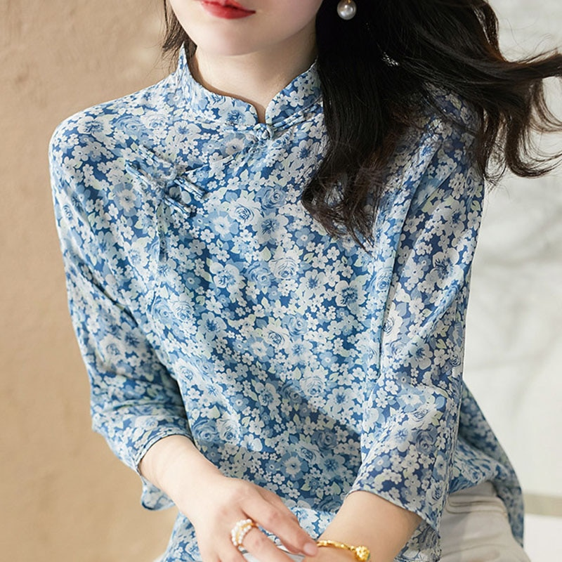 Chinese Style Spring Summer Stand Collar Women Chiffon Blouses Shirts Lady Casual Printed knot Blusas Tops