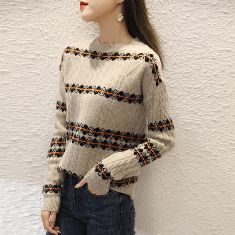 adohon 2021 woman winter 100% Cashmere sweaters autumn knitted Pullovers High Quality Warm Female thickening O-neck Patchwork enlarge