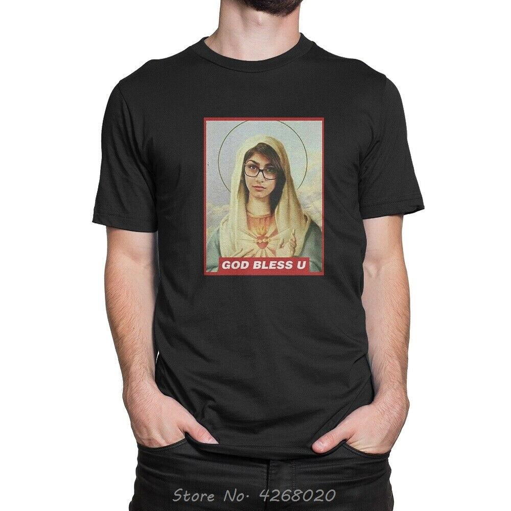 Мужская футболка God Bless Mia Khalifa, летняя хлопковая футболка с коротким рукавом и круглым вырезом, Забавные футболки, топы Harajuku