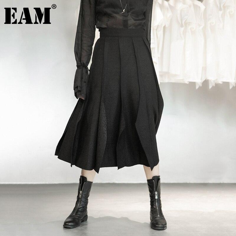 EAM-تنورة صوفية سوداء بطيات للنساء ، تنورة عالية الخصر ، خصر مرن ، قص ، نصف الجسم ، عصري ، جديد ، ربيع خريف 2021 ، 1DD1634