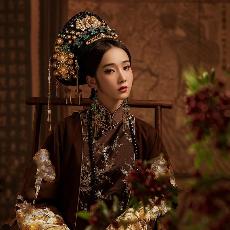 WYJN 6 تصاميم تشينغ سلالة الإمبراطورة زي رائع التطريز الكامل الدراما Hanfu الموضوعية فوتوغراهي تأثيري مرحلة الأداء
