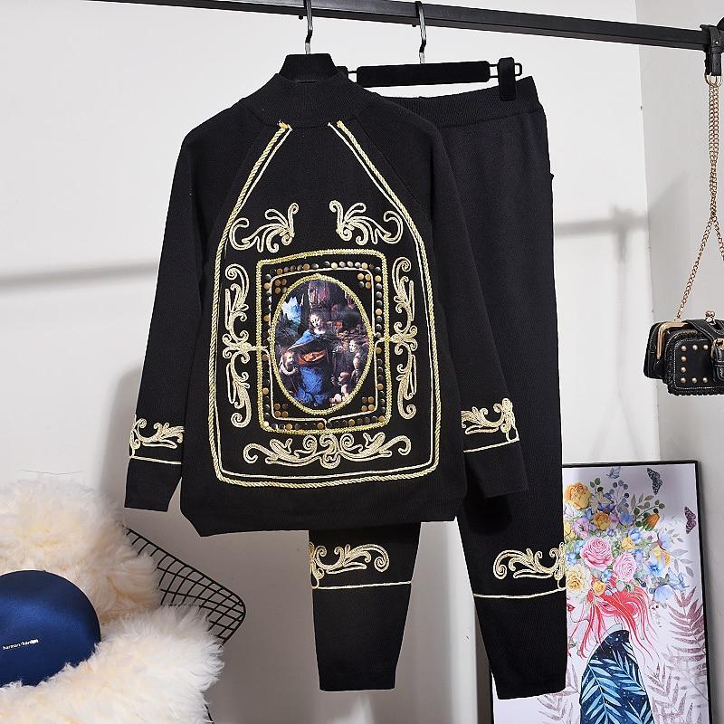 Otoño tejidos nuevos Blusa con bordado chándal mujeres conjunto de moda de manga larga de cuerda dorada suéter Top + 2 piezas conjunto de mujeres