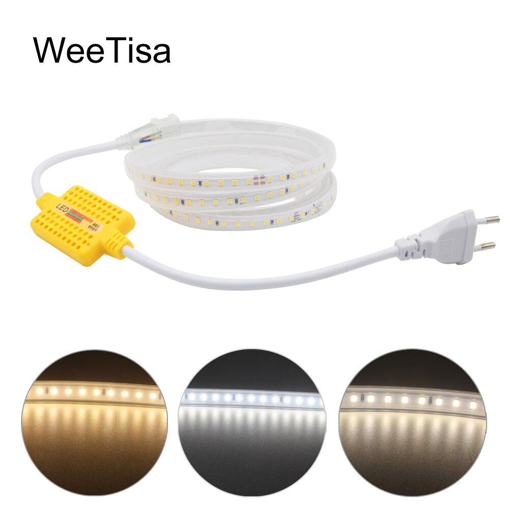 Regulable de LED 220V SMD 2835 impermeable Super brillante 1M 5M 10M 15M 20M 25M 30M LED cinta a rayas luz exterior lámpara de jardín