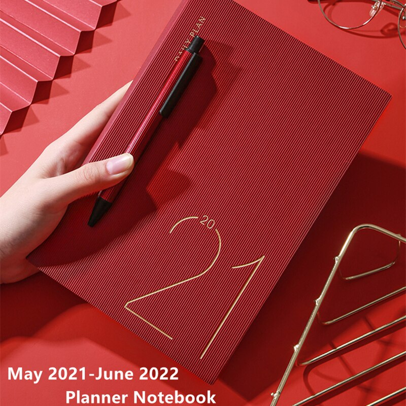 Fashion Agenda 2021 May-2022 June Monthly Weekly Plan Thicken Notebook A5 Leather Soft Cover School Planner Efficiency Journal