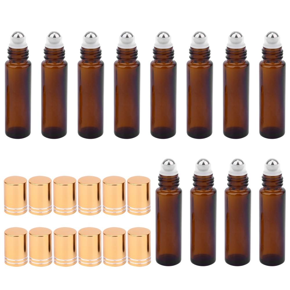 12pcs Travel Empty Roll on Bottles 10ml Glass Roller Bottle with UV Plastic Cap