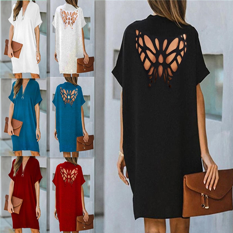 Sexy Summer Butterfly Hollow Out Short Sleeve Dress Women Casual V Neck Solid Elegant Beach Plus Size Fashion Party Shirt Dress plus butterfly sleeve self tie shirt dress