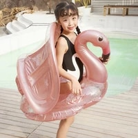 selfree flamingo inflatable circle baby infant float pool swimming ring with sunshade floating seat summer beach party pool toys