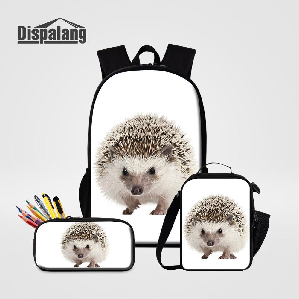 Dispalang الأطفال الأزياء 3 قطعة أكياس مجموعة ظهره ونتشبوكس قلم رصاص حقيبة إلى المدرسة القنفذ الحيوان الحقائب المدرسية ل الابتدائية الكتب