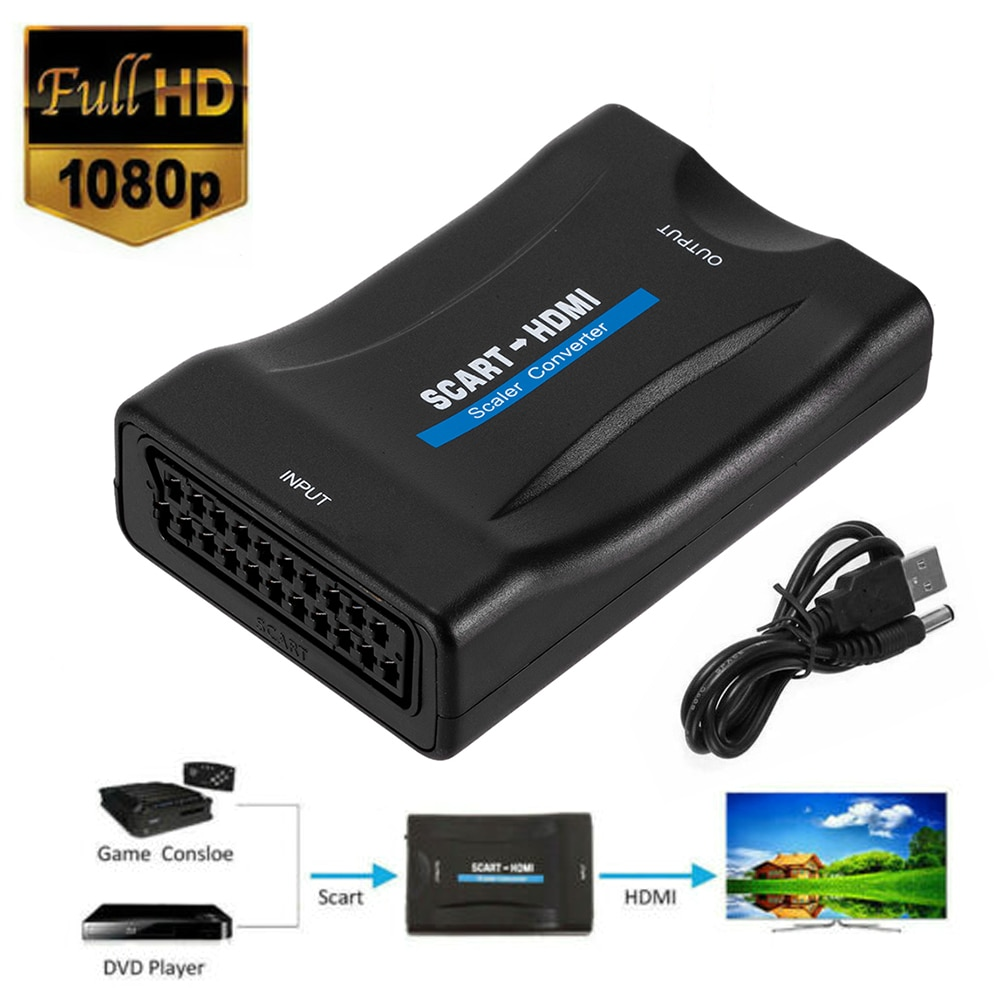 1080P SCART to HDMI-compatible Video Audio Upscale Converter AV Signal Adapter Receiver EU Power Plug For HDTV DVD for Sky Box