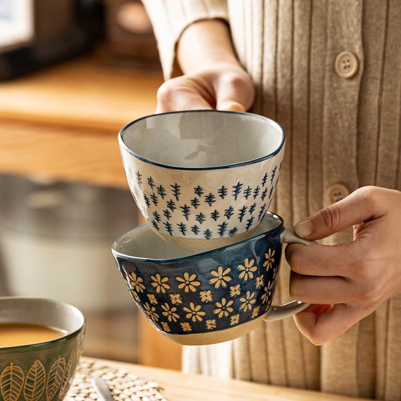 Taza de asa de Taza de cerámica Vintage japonesa, 310ml, para el desayuno, leche, avena, café, resistente al calor, para oficina y hogar