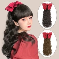 15 long curly pony tail hair extensions with bowknot wavy hair piece for women high temperature fiber curly ponytail wig